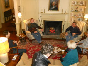 Meeting attendees gather in the parlor at Grafton Inn
