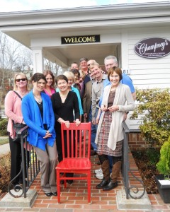 DINE innkeepers join the Red Chair in a reunion outside the Deerfield Inn.