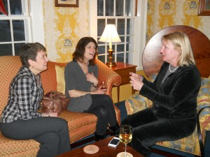 Nancy talks with Leslie from the Rabbit Hill Inn and Melissa from the Grafton Inn at a recent DINE meeting held at the Deerfield Inn.