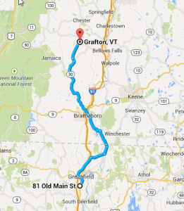 It's just under 60 miles from Deerfield Inn to Grafton Inn.  Source:  Google Maps.
