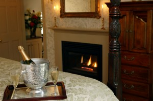 Most DINE inns offer the opportunity to order a little bubbly to add to your fireside chats.  Ask your innkeeper.  Shown here:  Captain's House Inn fireside champagne service.