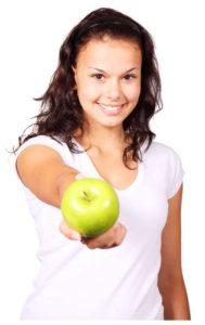 Girl offfering apple