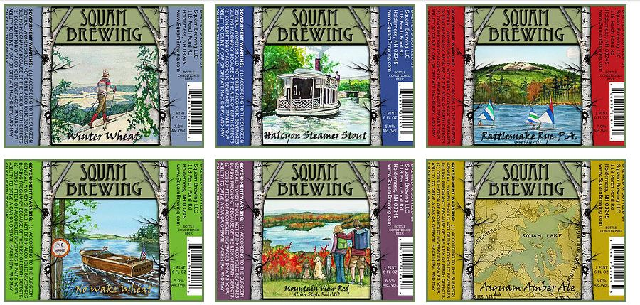 Labels on Squam Brewing beers.