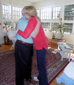 Sarah Lindblom from Captain Jefferds Inn hugs guest