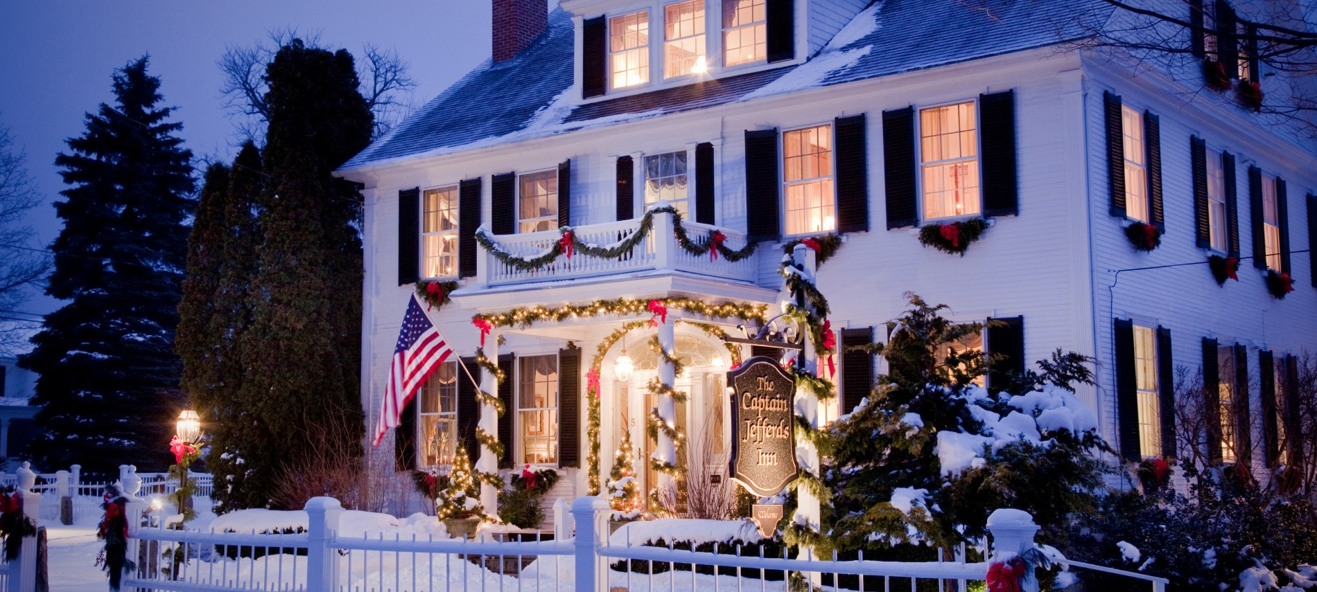 All lit up for the holidays at Captain Jefferds Inn