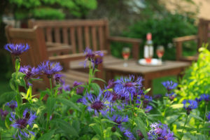 Wine in the garden at Captain Jefferds Inn