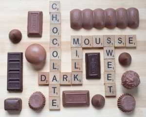 Chocolate words on Scrabble board