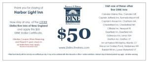 Dine Dollars, DINE referral program, Distinctive Inns of New England referral certificate