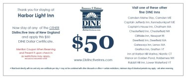 Stay at any DINE inn and receive $50 in DINE dollars toward your next stay at any other DINE inn
