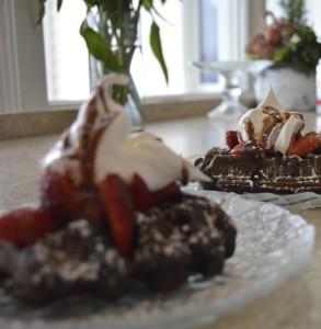Chocolate waffles from Inn at Harbor Hill Marina