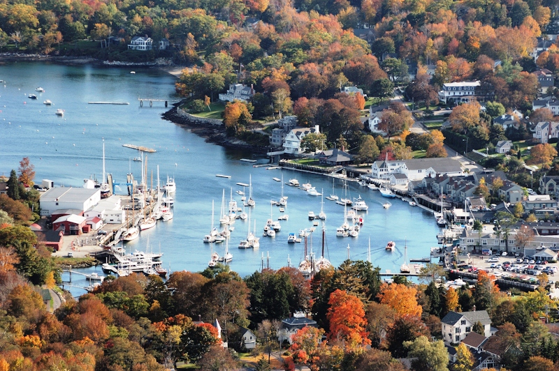Fall foliage in Camden, Maine viewed from Mt Battie