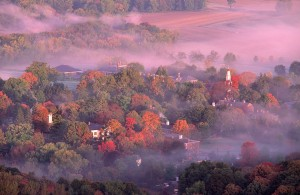 A fall fog over Historic Deerfield, Ma