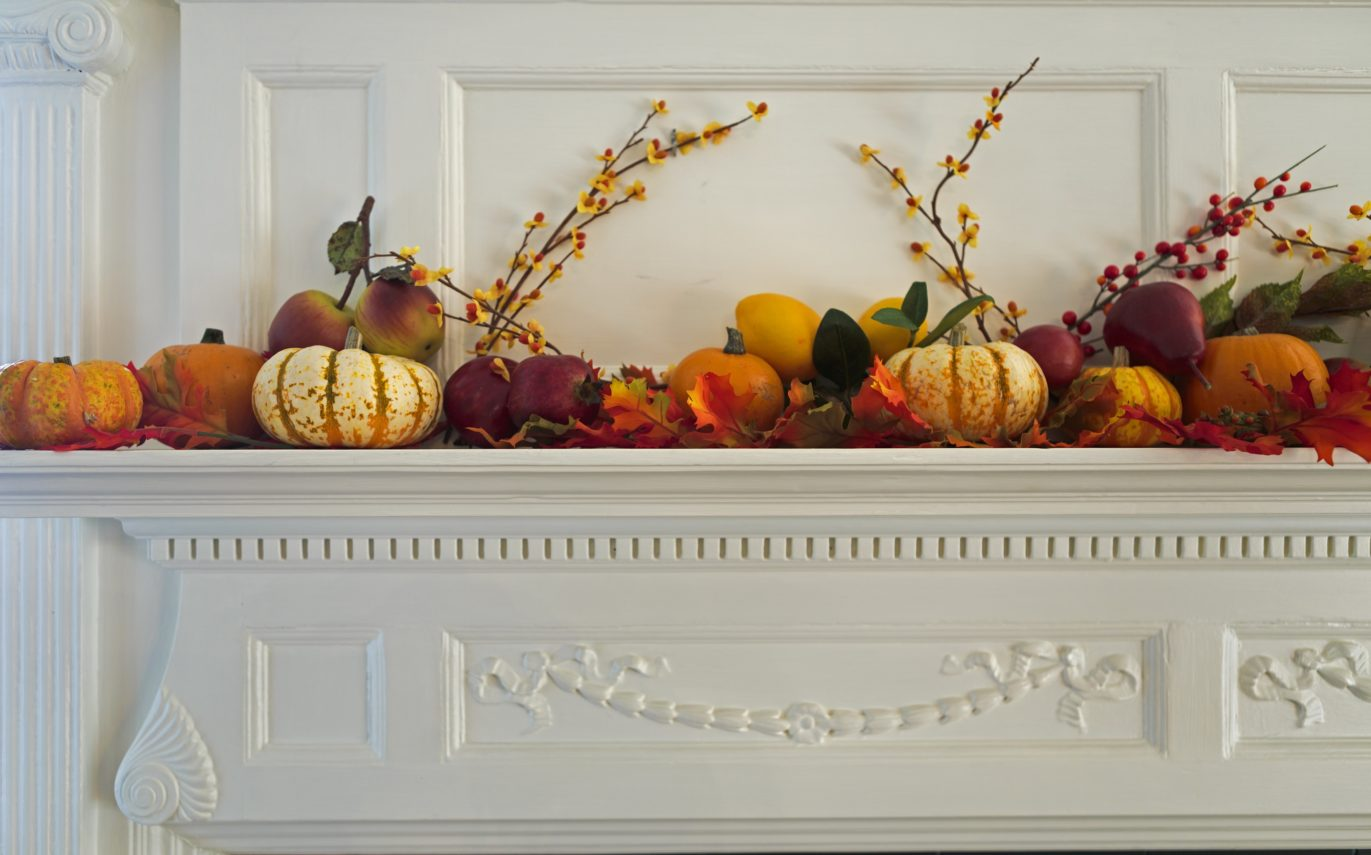 pumpkins and gourds on the mantle at Captain Jefferds Inn.