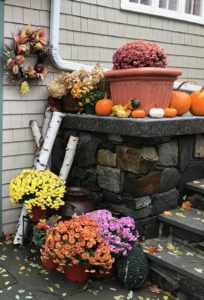 Mums and pumpkins at the entrance of Chesterfield Inn