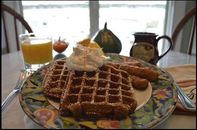 Gingerbread waffles from Inn at Harbor Hill Marina