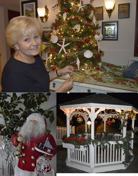 Holiday decorations at Inn at Harbor Hill Marina, Niatnic, CT