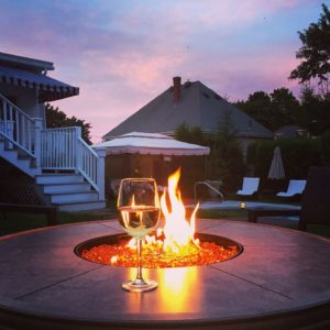 Wine at the firepit at Harbor Light Inn, Marblehead, MA