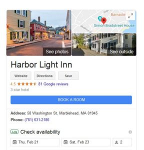Google search for Harbor Light Inn