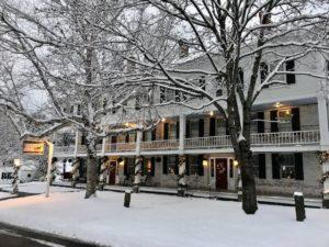 Grafton Inn holiday photo with snow surrounding the inn