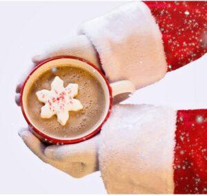 Hot chocolate in Santa's hands