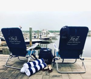 Inn at Harbor Hill's beach chairs, towels and coolers