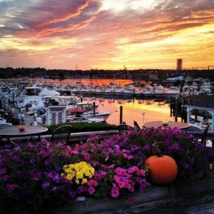 Sunset over Inn at Harbor Hill Marina