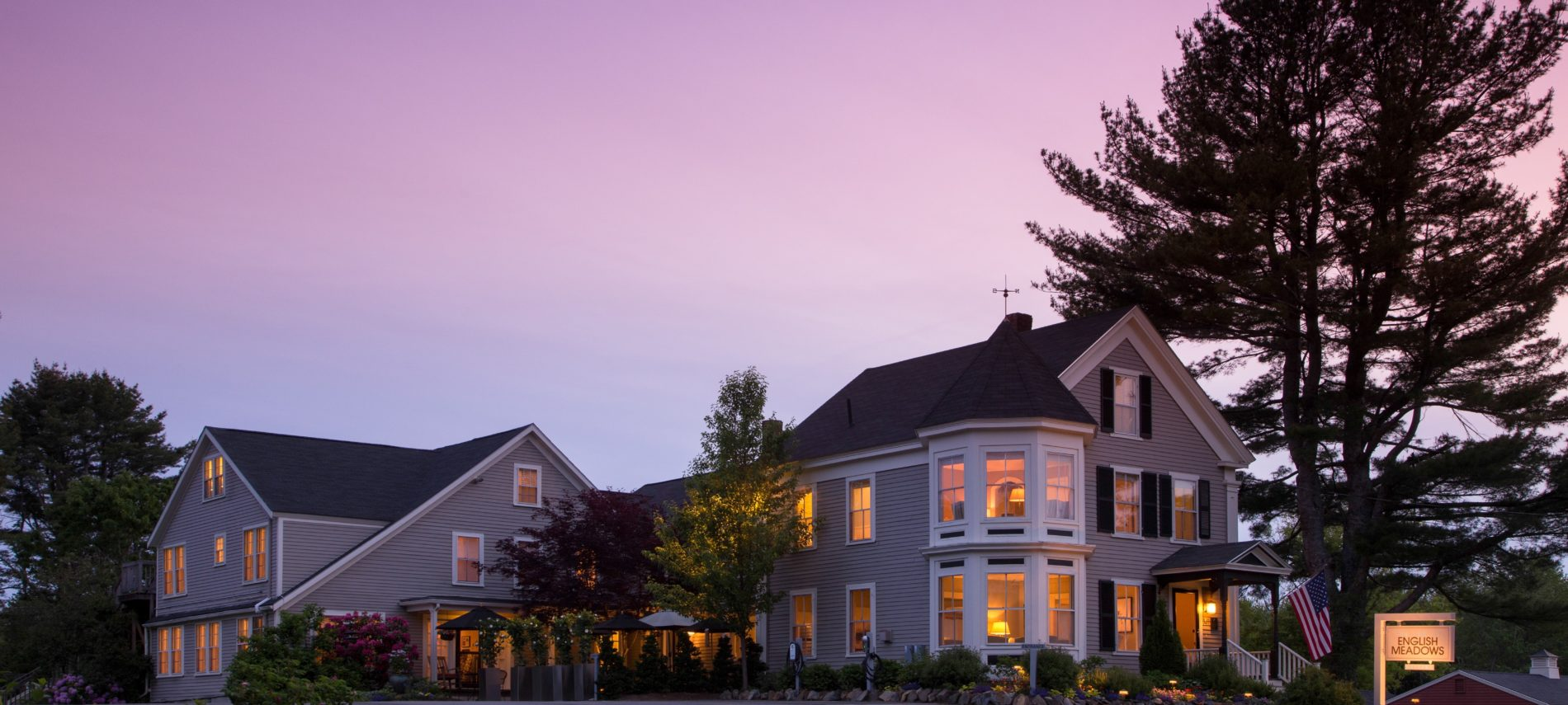 Inn at English Meadows at dusk