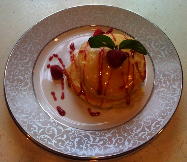 Lemon Yogurt pancakes with cranberry syrup - recipe from Captain's House Inn