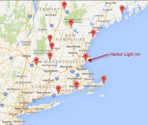Distinctive Inns of New England locator map