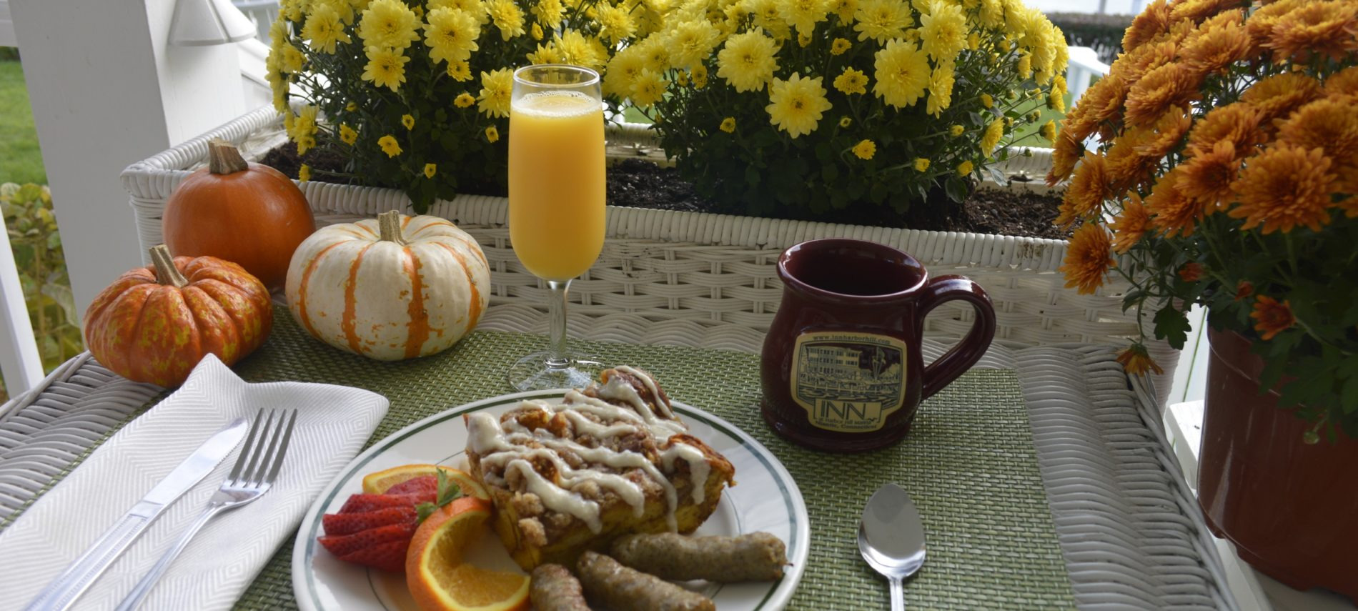 Photo of breakfast plate with Pumpkin Baked French Toast at Inn at Harbor Hill Marina