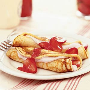 Recipe for Strawberry Pancake Roll-ups from Cliffside Inn