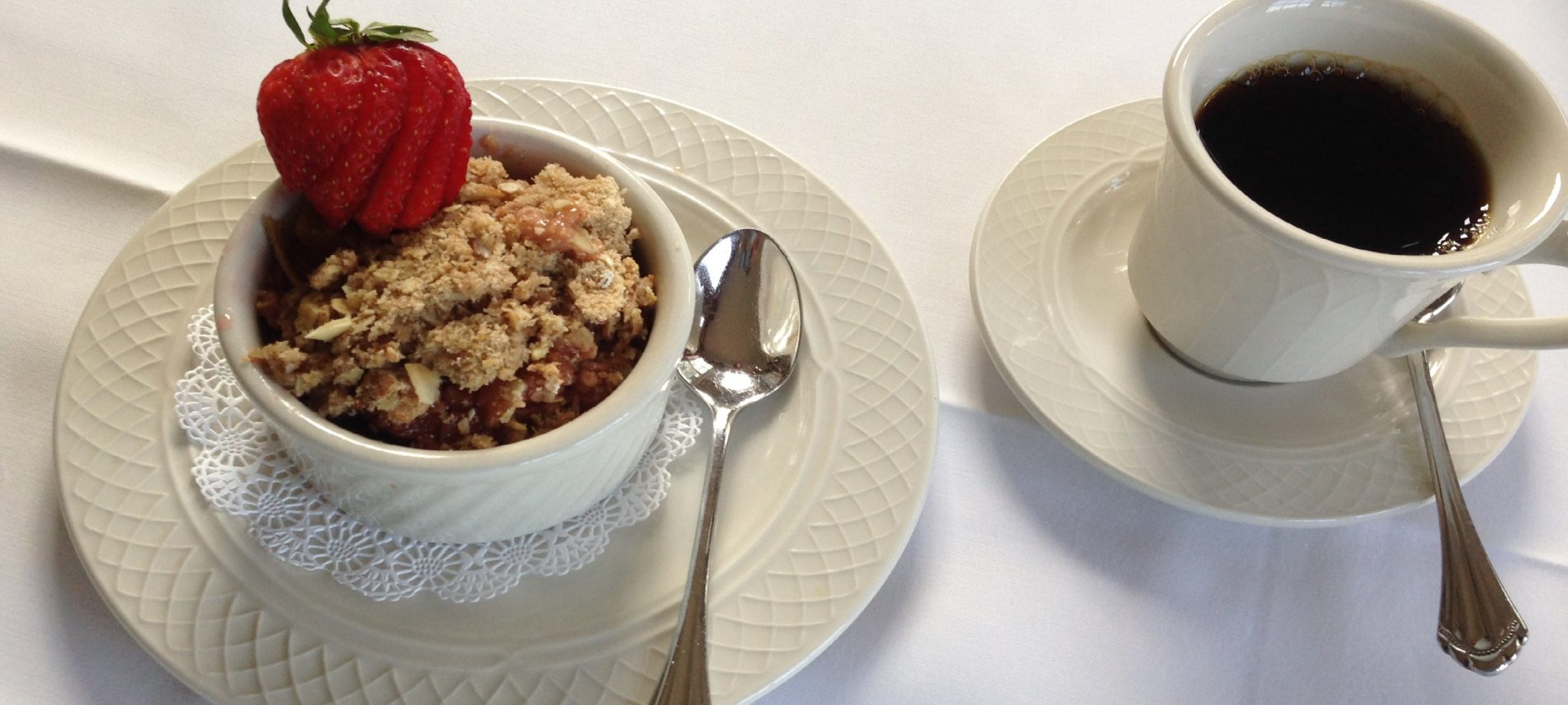 Strawberry Rhubarb Crisp and Coffee from Chesterfield Inn