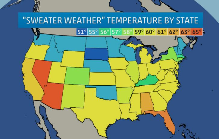 Sweater Weather Map according to the Weather Channel