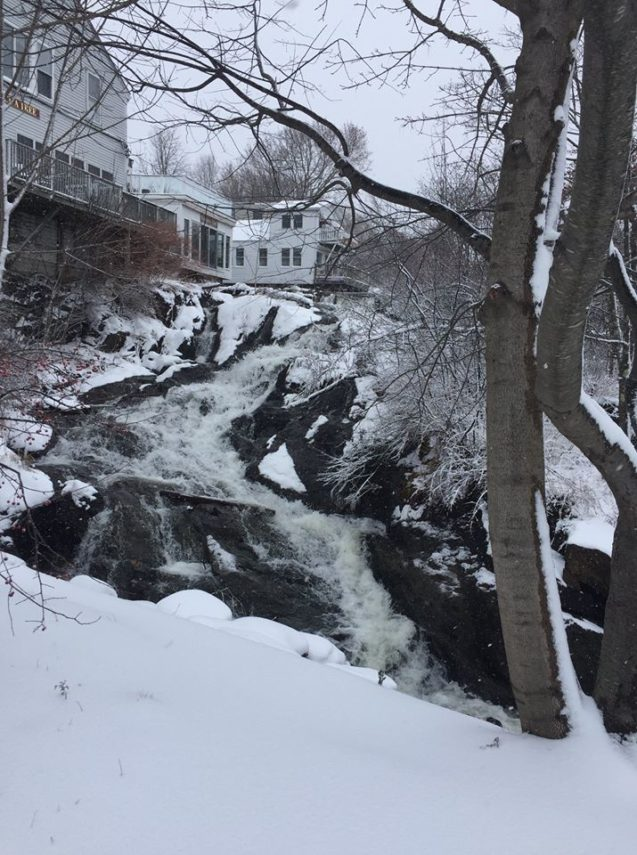 Waterfall near the center of Camden, Maine