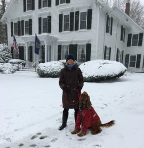 Camden Maine Stay innkeeper, Janis, with her dog.