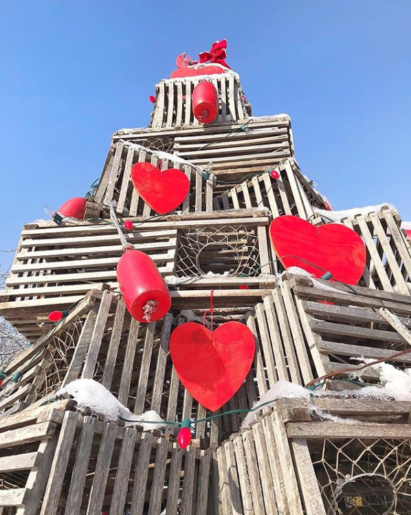 Cape Porpoise, Maine lobster trap tree with hearts