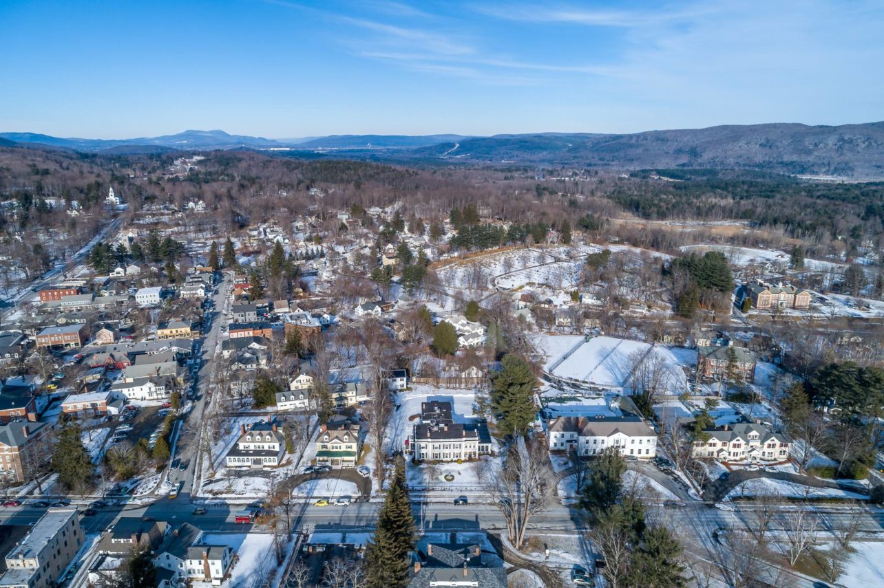 Drone photo of the Gateways Inn and Lenox, MA behind it