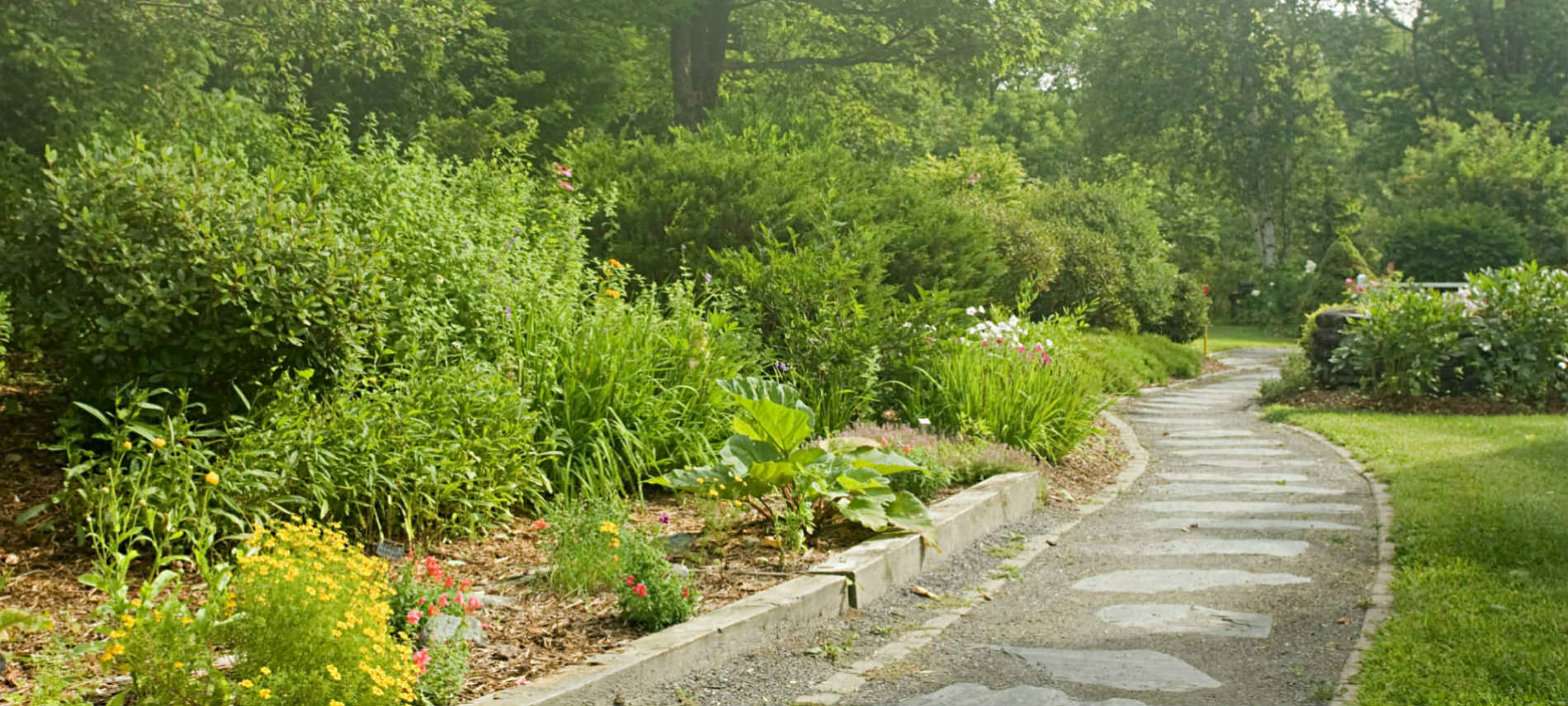 Stone path meanders through lovely curated gardens on a sunny day.