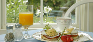 Eggs Benedict on a white plate with coffee and juice.