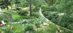 Beautiful gardens at Camden Maine Stay Inn.