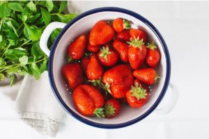 strawberries for Strawberry Rhubarb recipe
